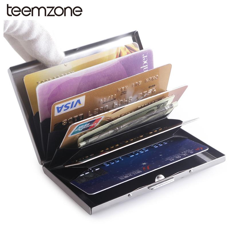 Hot Slim women men Unisex bolt stainless steel mirror ID Card Holder case 6 bag Credit Card cool silver button open J50