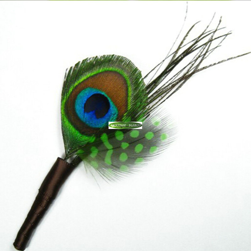 6pcs Feather Handmade Party Wedding Decor Artificial Peacock Boutonniere Corsage Flower Green FL5212(China (Mainland))