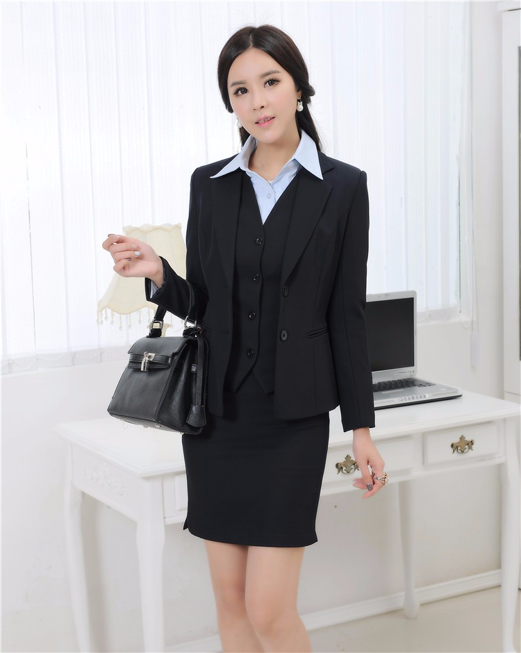 Autumn and Winter Formal Blazer Women Business Suits with Skirt +Jacket + Waistcoat Sets Ladies Office Uniforms Skirt Suits