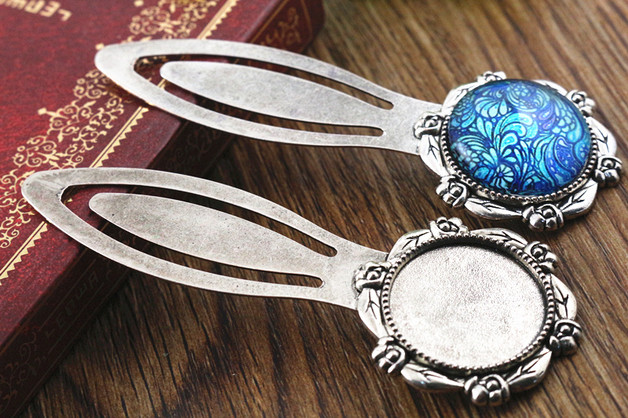 New Fashion 2pcs 20mm Inner Size Antique Silver Simple Style Handmade Bookmark Cabochon Base Cameo Setting (H1-11)(China (Mainland))