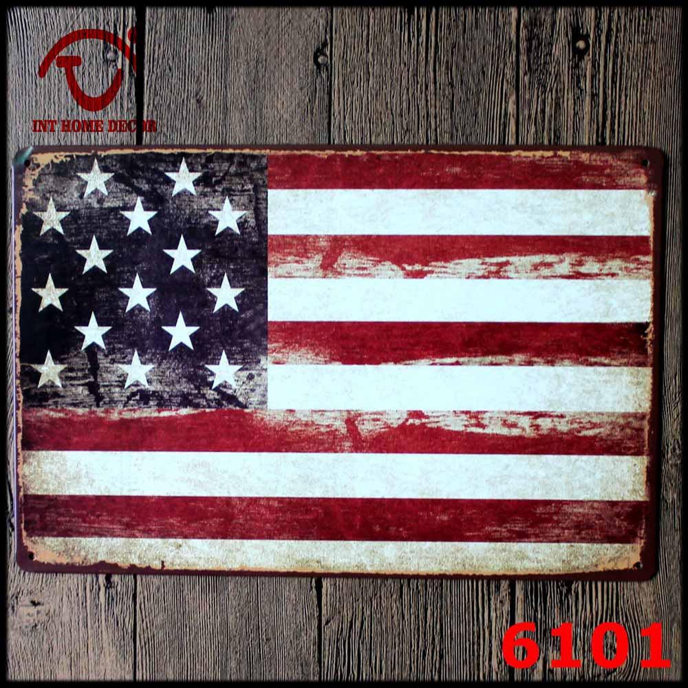 usa flag plaque 20x30cm vintage metal sin usa flag wall sticker shabby chic plaques. Black Bedroom Furniture Sets. Home Design Ideas