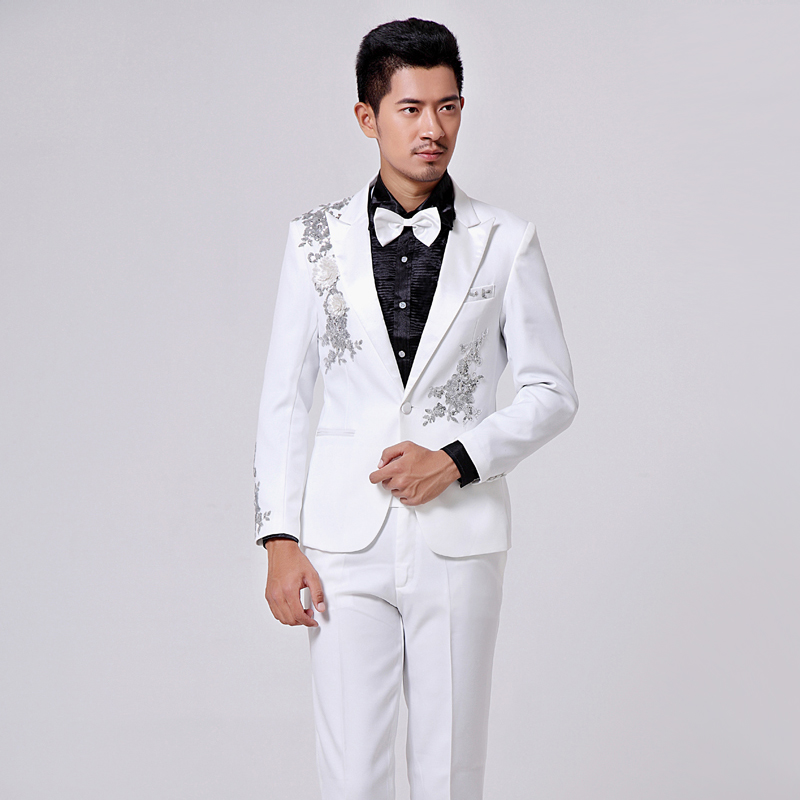 Free shipping !!! 2014 Mens dress suits show host singer white sequined stage costumes / S-XXLОдежда и ак�е��уары<br><br><br>Aliexpress