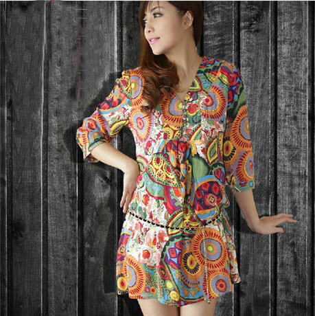 New summer women dress style dresses V-neck short-sleeve National print women cotton dress Casual Vestidos women clothing casual(China (Mainland))