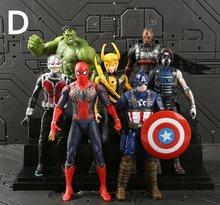6 pçs/set Brinquedos Marvel The Avengers Figura 18 centímetros de Super-heróis Batman Capitão América Thor Hulk Action Figure Collectible Modelo Boneca(China)