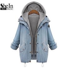 Шеин синий с капюшоном шнурок бойфренда тенденции Жан Swish карманов двух частей верхняя одежда женский с длинным рукавом кнопки пальто(China (Mainland))