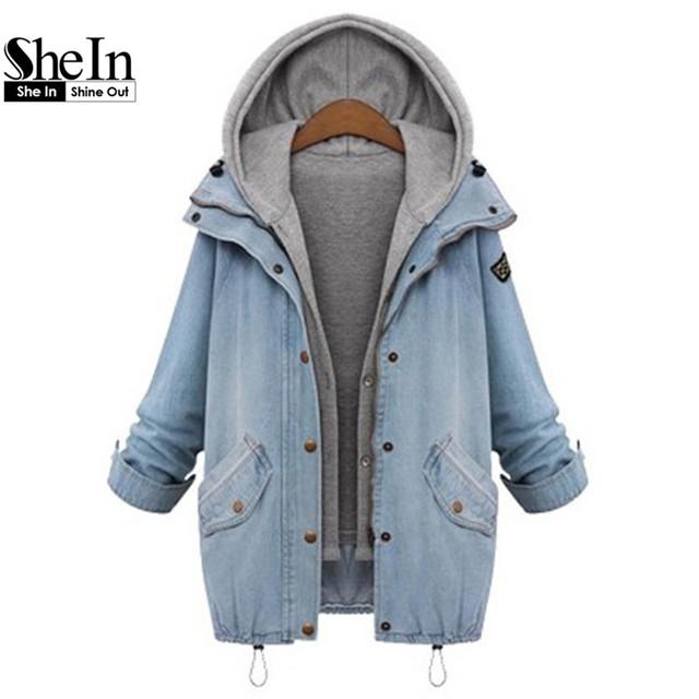 Shein синий с капюшоном шнурок бойфренд тенденции жан свист карманы двухсекционный ...