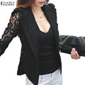 2016 Fashion Coat Sexy Lace Long Sleeve Suit Blazer Lady Outwear Women OL Formal Slim Jacket