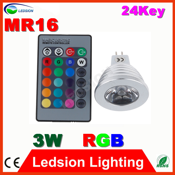 5pcs/lot  MR16 Spotlight 3W RGB LED Colorful bulb downLight 24 IR Key home light indoor Lamp DC12V for Garden Party Decoration<br><br>Aliexpress