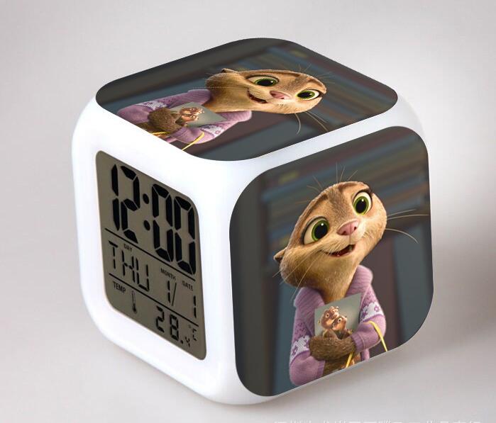 Clock Zootopia Digital 7 Color Change Alarm Clock Horse Desk Watch Relogio De Mesa Night Light Plastic Reloj Zootropolis In Box(China (Mainland))