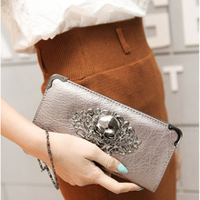 Hot Fashion Metal Skull Pattern PU Leather Long Wallets Women Wallets Portable Casual Lady Cash Purse Card Holder Gift Popular(China (Mainland))