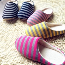 Free shipping  Yoplait new Japanese minimalist mute home slippers stripes help surface floor slippers lovers