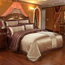New.Luxury Tencel Modal silk Jacquard 4pcs bed linen bedding set Queen king size bedclothes Bed Sheet /duvet cover set bedspread(China (Mainland))