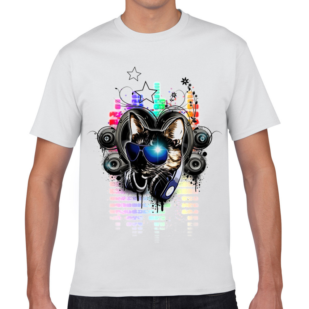 Design t shirt rollerblade - Novelty Wearing Glasses And Headphones Cool Cat With Colored Symbols Printed Tee Shirt Fashion Music Cartoon Characters Xq434
