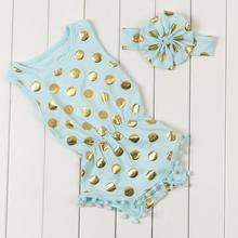 2016 de lunares puntos del oro para niños mamelucos del bebé recién nacido de los bebés pompom equipos lindos niño ropa los cabritos(China (Mainland))