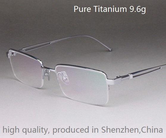 High quality fashion business Men pure titanium eyeglasses frame;light 9.6g half rim or full rim choice; all size available(China (Mainland))