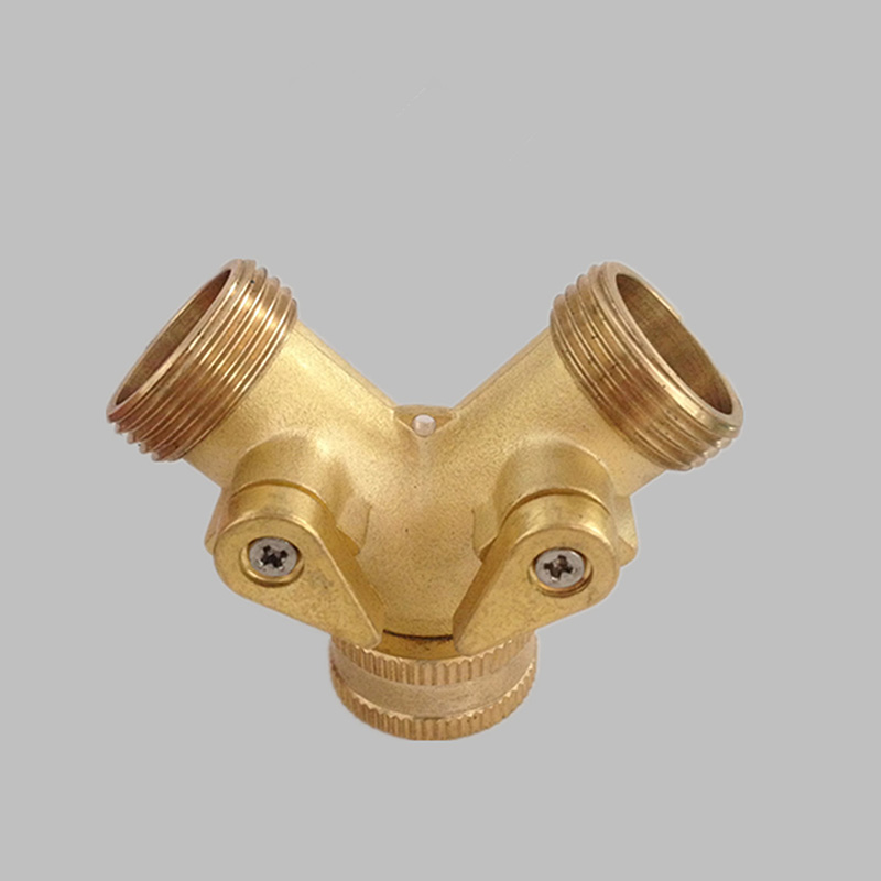 Two Way Brass Hose Tap Quick Connector Pipe Splitters Good Quality Fitting Garden Supplies Free Shipping(China (Mainland))