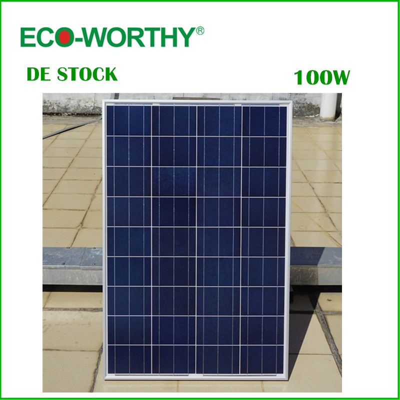 DE Stock No Tax 100W 18V Polycrystalline Solar Panel for 12v Battery off Grid System Solar for Home System Free Shipping(China (Mainland))