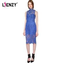 LIENZY Spring New 2016 Retro Women Lace Dress Blue Turtleneck Perspective Slits Lace Hem Midi Dress Party Evening Elegant