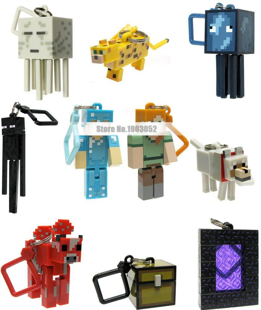10pcs/lot Minecraft Keychain toys Models MC creeper Brinquedos Keyring Clip Figures Games Toys Hot Sale gift for kids(China (Mainland))