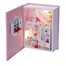 DIY Wooden Doll House Of Baby Diary with Led light,Creative Book Model Miniature Dollhouse Toys for Kid Free Shipping(China (Mainland))