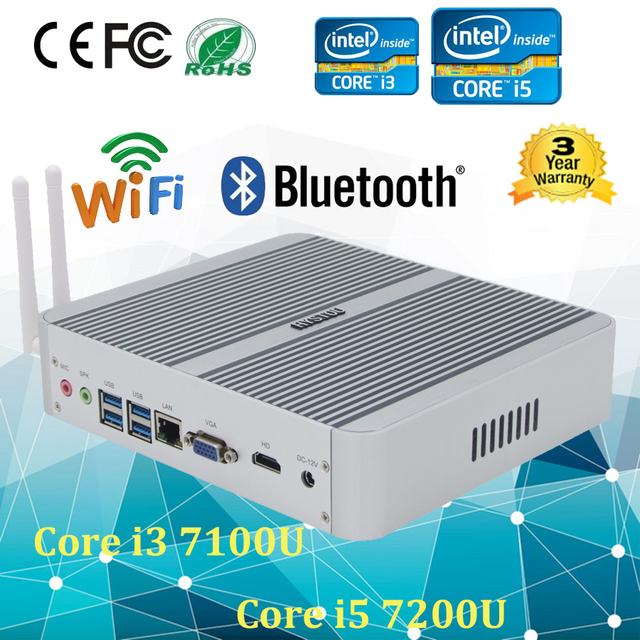 Kaby Lake i3 7100U Fanless Mini PC i5 7200U Mini HTPC HD Graphics 620 4GB RAM 128GB SSD Support Windows 10(China (Mainland))