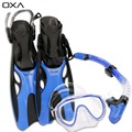OXA Adult Adjustable Diving Long Fins Snorkeling Foot Flippers Swimming Scuba Diving Mask Snorkel Set Dive