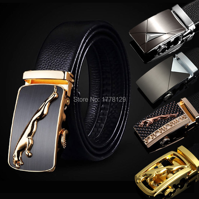 HONO Li Fashion Men's Belt Men's 100% Genuine Leather Auto Lock Buckle Belt Casual Men's Strap With Classic Silver Buckle PD0(China (Mainland))