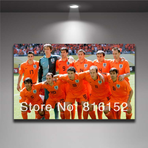 World Cup 2014 Brazil Soccer Players Football Stars Netherlands Team Photo Picture Canvas Printing Painting Wall Decor(China (Mainland))