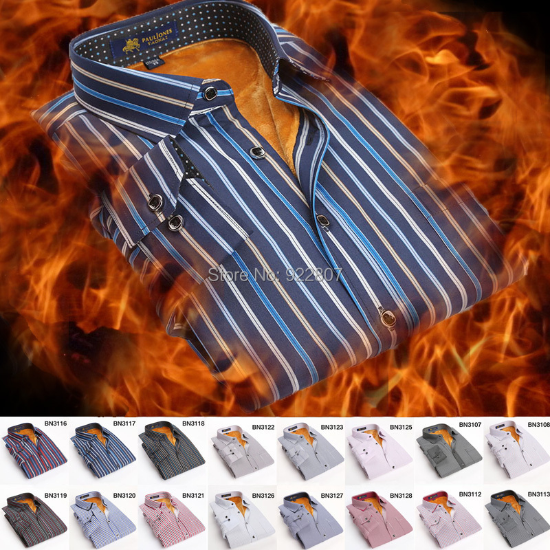 2015 winter men's warm shirt Thick wool in side dress shirt men Keep warm Casual  Thermal shirt for man big size