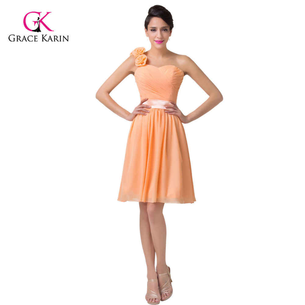 Drop Shipping One Shoulder Ruched Orange Sweetheart Short