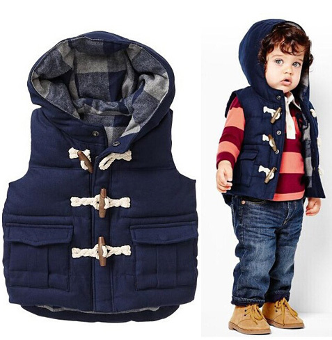 1 PCS/Lot New Fashion Children Winter Outwear Cotton Boys Vest Coats Casual Kids Baby Clothes(China (Mainland))