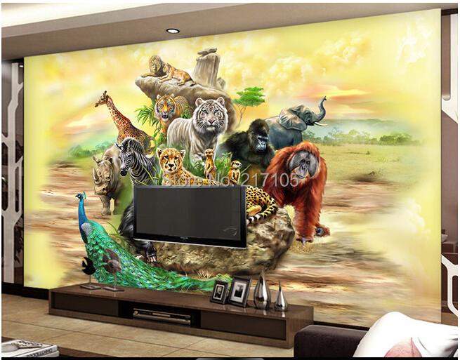Custom 3d stereoscopic wallpaper safari for children 39 s for Safari decorations for the home