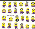 3D Sticker Beautiful Nail Tattoo Stickers-24 NAIL ART WATER TRANSFER DECALS STICKERS MINIONS MOVIE despicable me&cartoon roal(China (Mainland))
