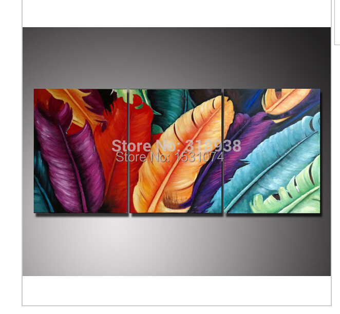 Hand-painted Abstract banana leaves 3 panels Oil Painting on Canvas Art painting trees artwork(China (Mainland))