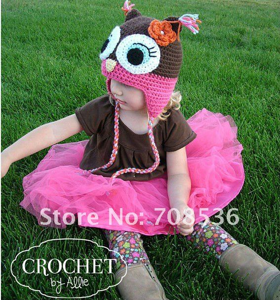 35pcs/lot free shipping children crochet hat  for kids Girls knitted flower hat  baby beanies HT14<br><br>Aliexpress