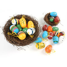 easter decoration supplies 24PCS wood easter egg decoration 35mm*25mm 2016 new painted clorful eggs free shipping