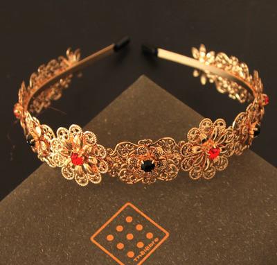 Free Shopping Baroque Vintage Fashion catwalk models Gold gems elastic Metal hoop headband headdress hair accessories(China (Mainland))