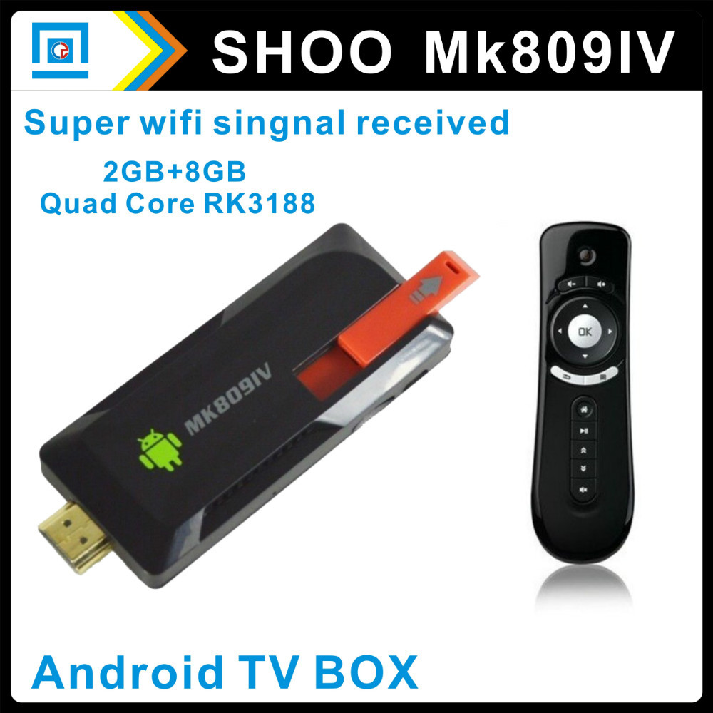 [Free T2 Air Mouse] RK3188 quad core Cortex A9 Mini TV dongle Android 4.2.2 TV Stick HDMI External wifi antenna MK809IV(China (Mainland))