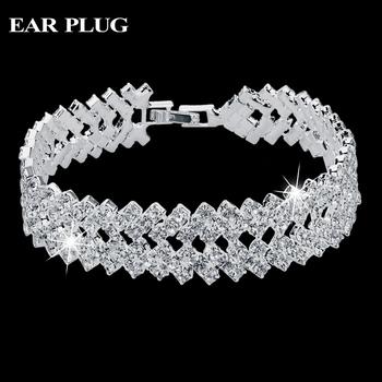Luxury Crystal Bracelets For Women Silver Bracelets & Bangles Femme Bridal Wedding Jewelry 2016 Vintage Bracelet SBR150218