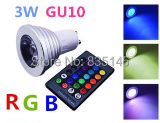 3W GU10 RGB IR Remote control LED Bulb Spotlight holiday light 220V 16 colors changeable(China (Mainland))