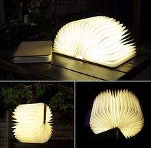 Origami Foldable Book Portable LED Lamp,Flip Folding Book Night Light,Creative Wooden USB rechargeable Book light Decorate Arts(China (Mainland))