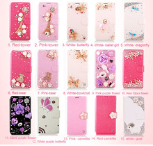 Butterfly Bling Diamond crystal flip wallet phone case cover For   Samsung GALAXY Note 2 II N7100(China (Mainland))