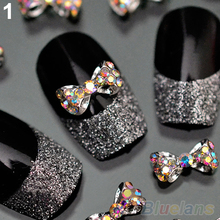 10pcs Nail Art Tips Stickers Deco Bow Knot Alloy Jewelry Multicolor Glitter Rhinestone nail gel 1JN7