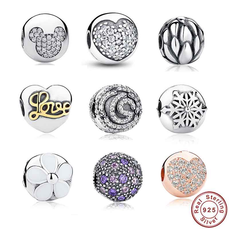 9 Style Sterling Silver 925 Whimsy Fun Mickey Pave Clip Charms and beads Fit Pandora Bracelet & Necklace Jewelry Accessories 192(China (Mainland))