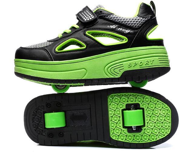 Spring Children Skate Roller Shoes Heelys Kids breathin sport one/two Wheels Boys Girls 3 colors Men Women 29-43