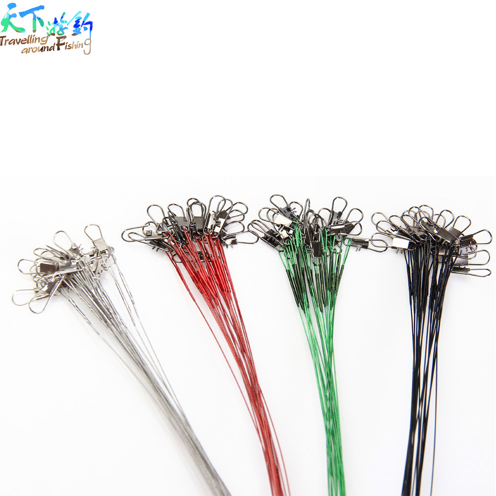 Wholesale 60pcs15cm/20cm/25cm Fly Fishing Line Connector Leader Wire Assortment Sleeve and Swivel Stainless Steel Rolling Swivel(China (Mainland))
