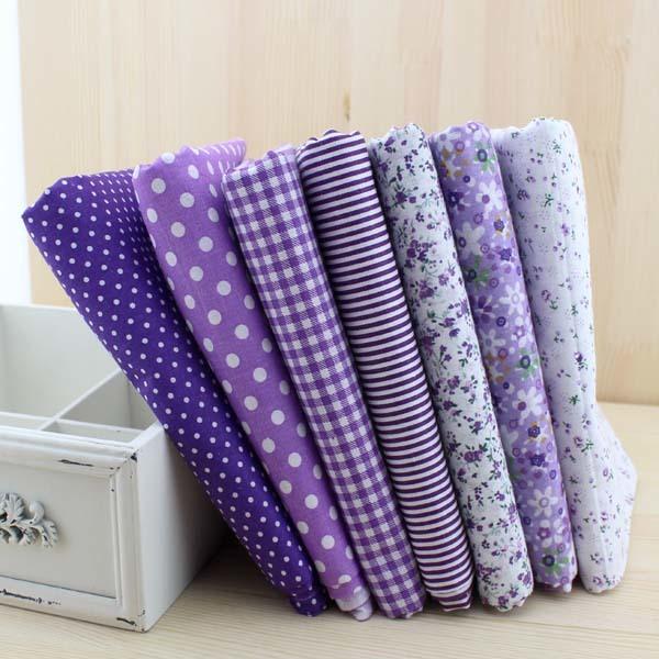 7pieces 50cmx50cm purple series cotton fabric fat quarter bundle patchwork cotton quilting fabric Tilda cloth basic quality(China (Mainland))