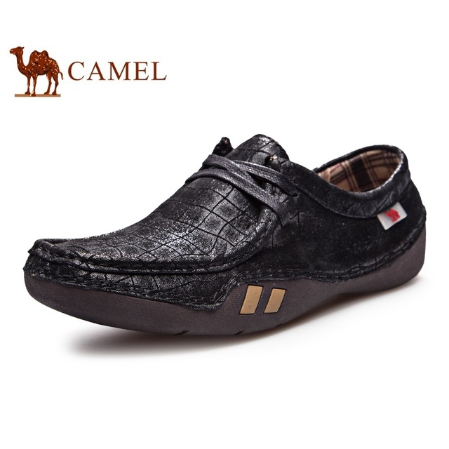 Чисто ручной швейные натуральной кожи узелок верблюд квартиры мужчины мокасины обувь ...