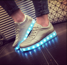 Fashion Fluorescent LED Shoes USB Charging light up Sneakers LED Luminous Shoes Casual Shoes High Quality(China (Mainland))