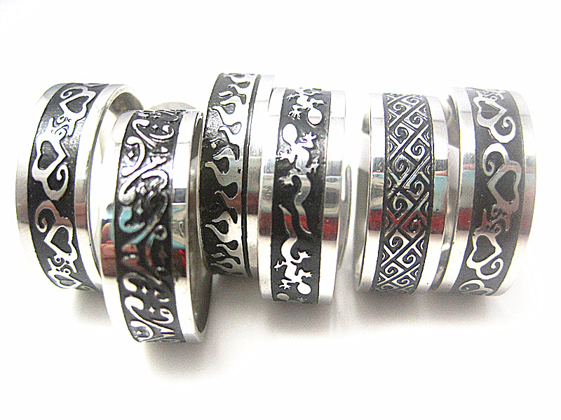 wholesale 20pcs mixed styles black Etching mens stainless steel polished jewelry rings(China (Mainland))